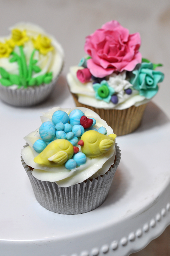 curso de cupcakes de flores y pajaritos
